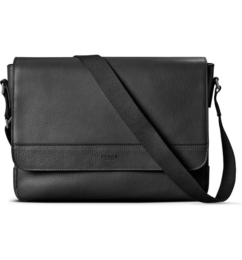 SHINOLA Slim Leather Messenger Bag, Main, color, BLACK