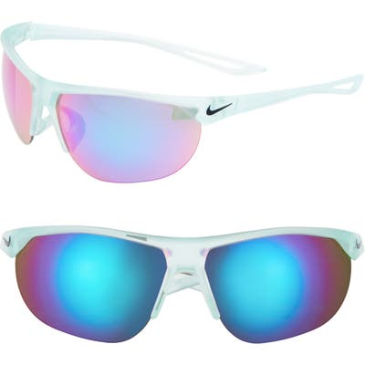 Nike Cross Trainer 65Mm Oversize Mirrored Wrap Sport Sunglasses - Matte Igloo/ Turquoise