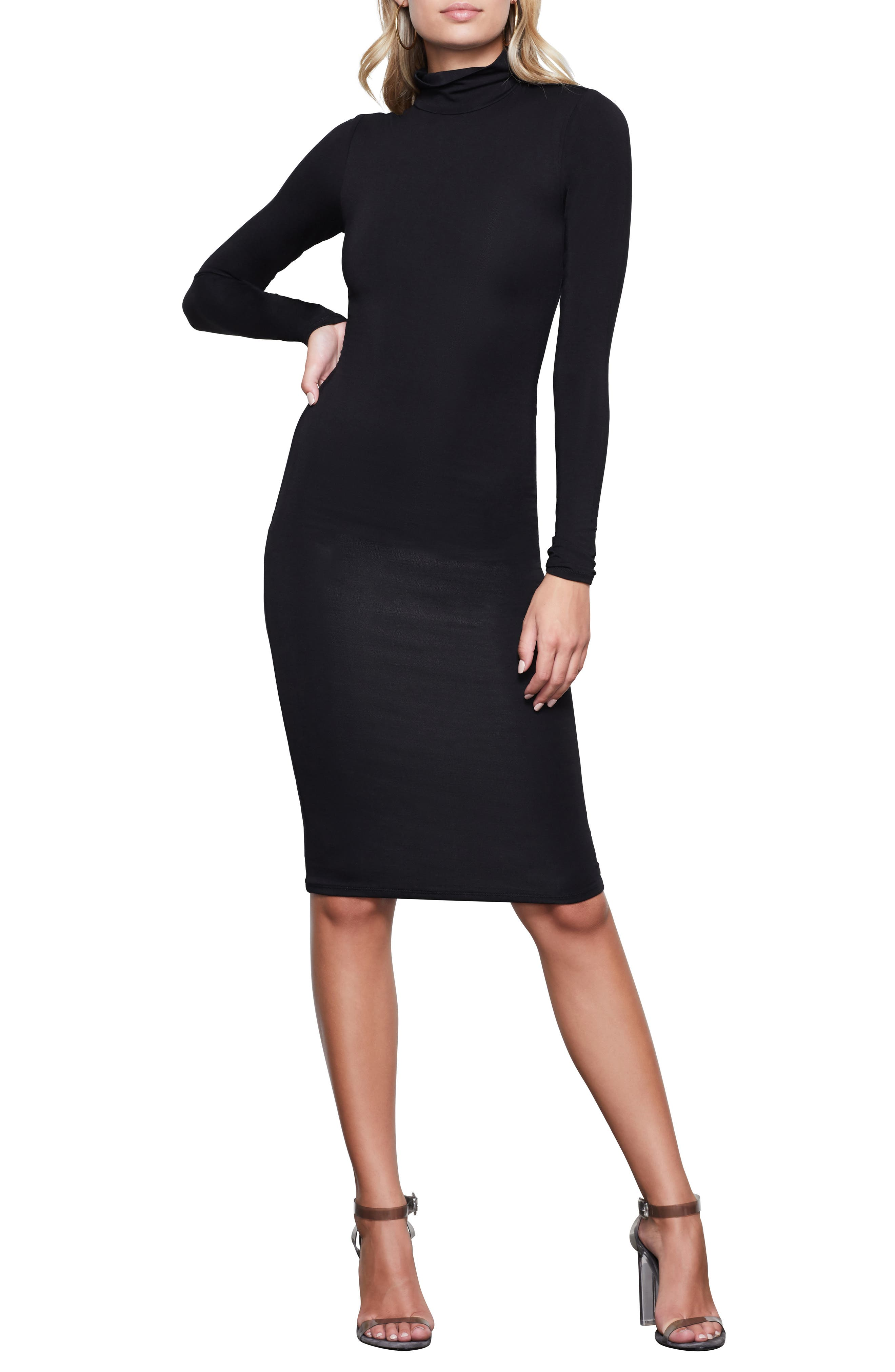 Good American Body-Con Turtleneck Long Sleeve Dress (Regular & Plus Size)