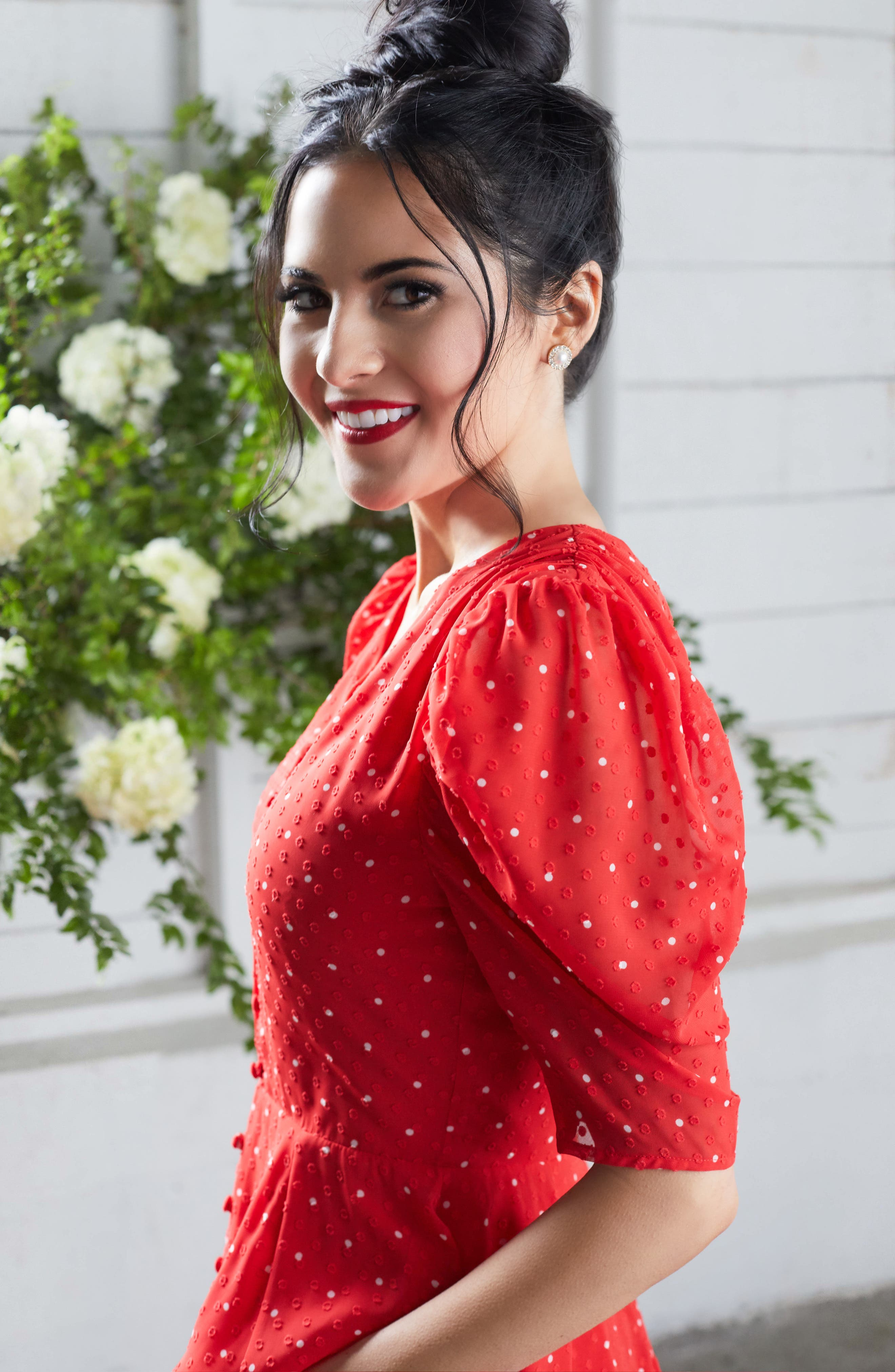 ,                             Chiffon A-Line Dress,                             Alternate thumbnail 8, color,                             RED CHINOISE DOT