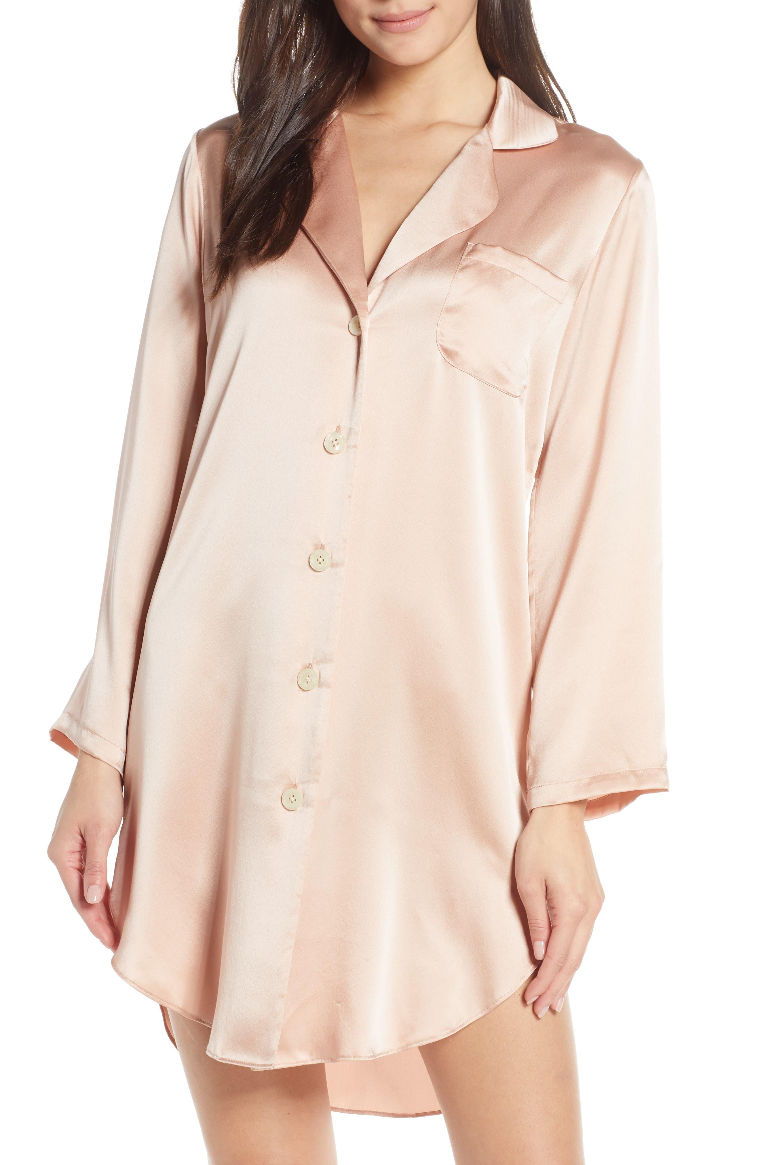 Morgan Lane Jillian Silk Nightshirt, Size Petite - Pink