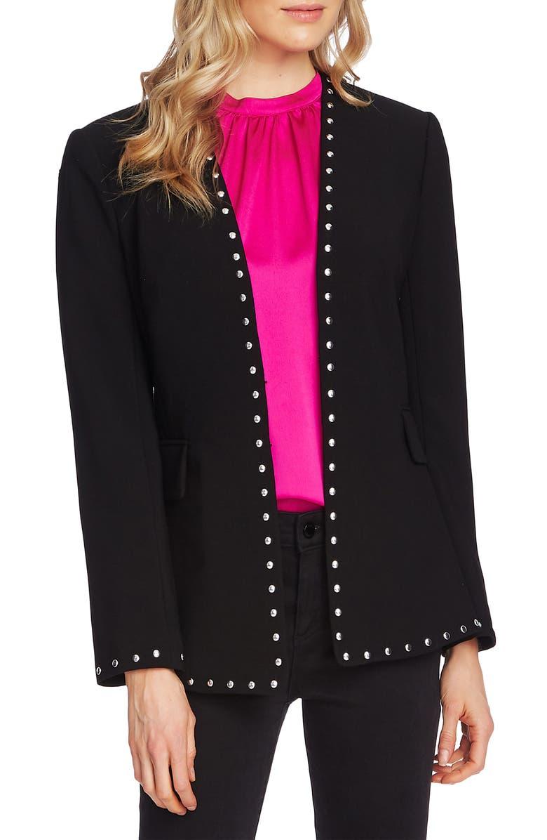 VINCE CAMUTO Studded Stretch Crepe Jacket, Main, color, RICH BLACK