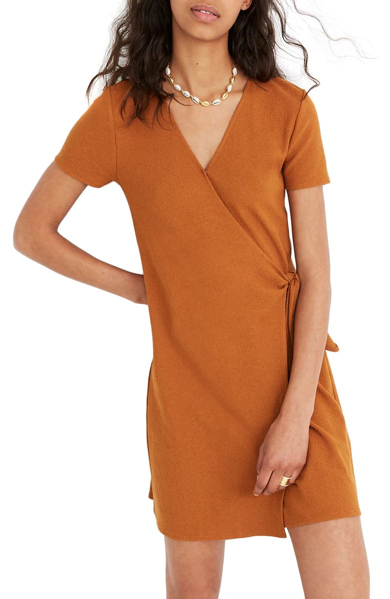 MADEWELL Texture & Thread Short Sleeve Side Tie Wrap Dress, Main, color, GOLDEN PECAN