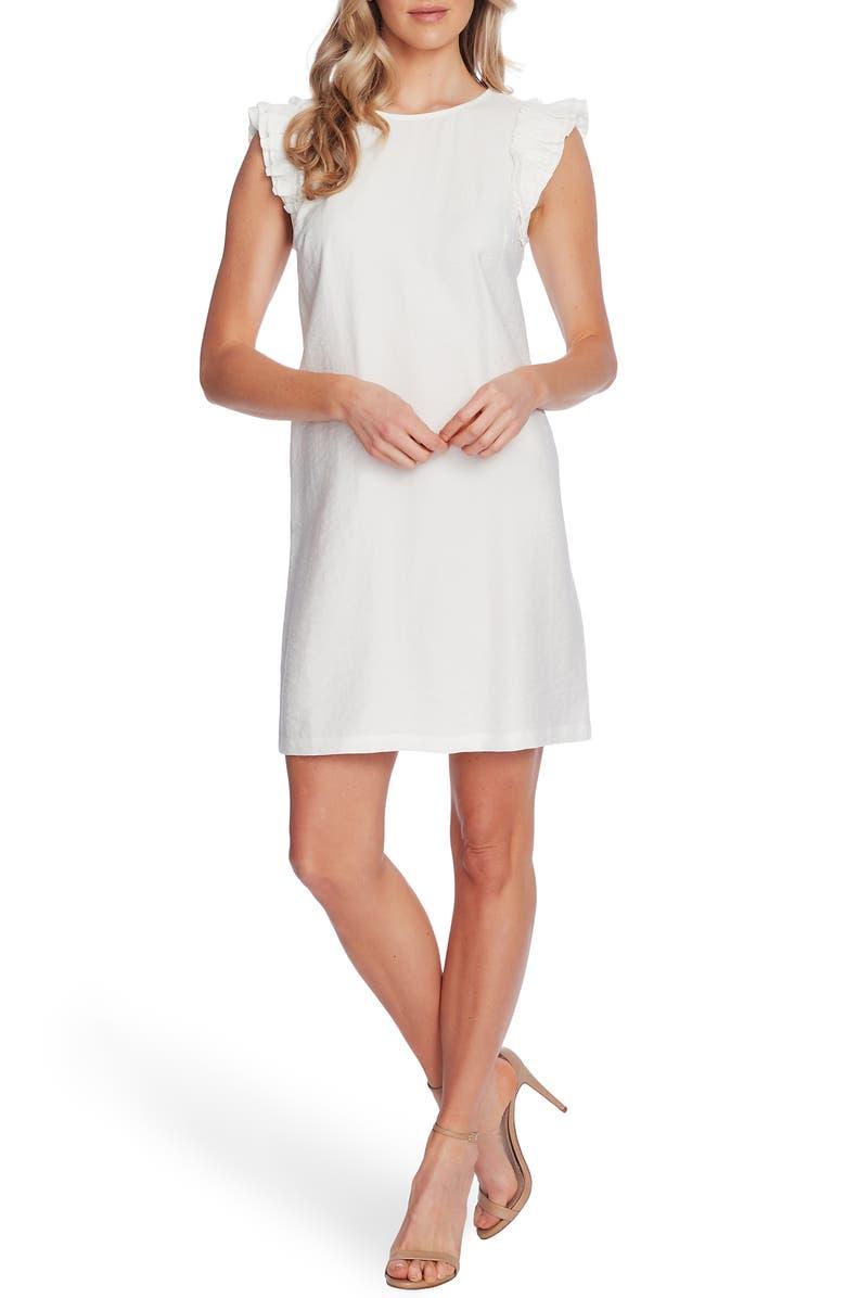 CECE Double Flutter Sleeve Shift Dress, Main, color, SOFT ECRU