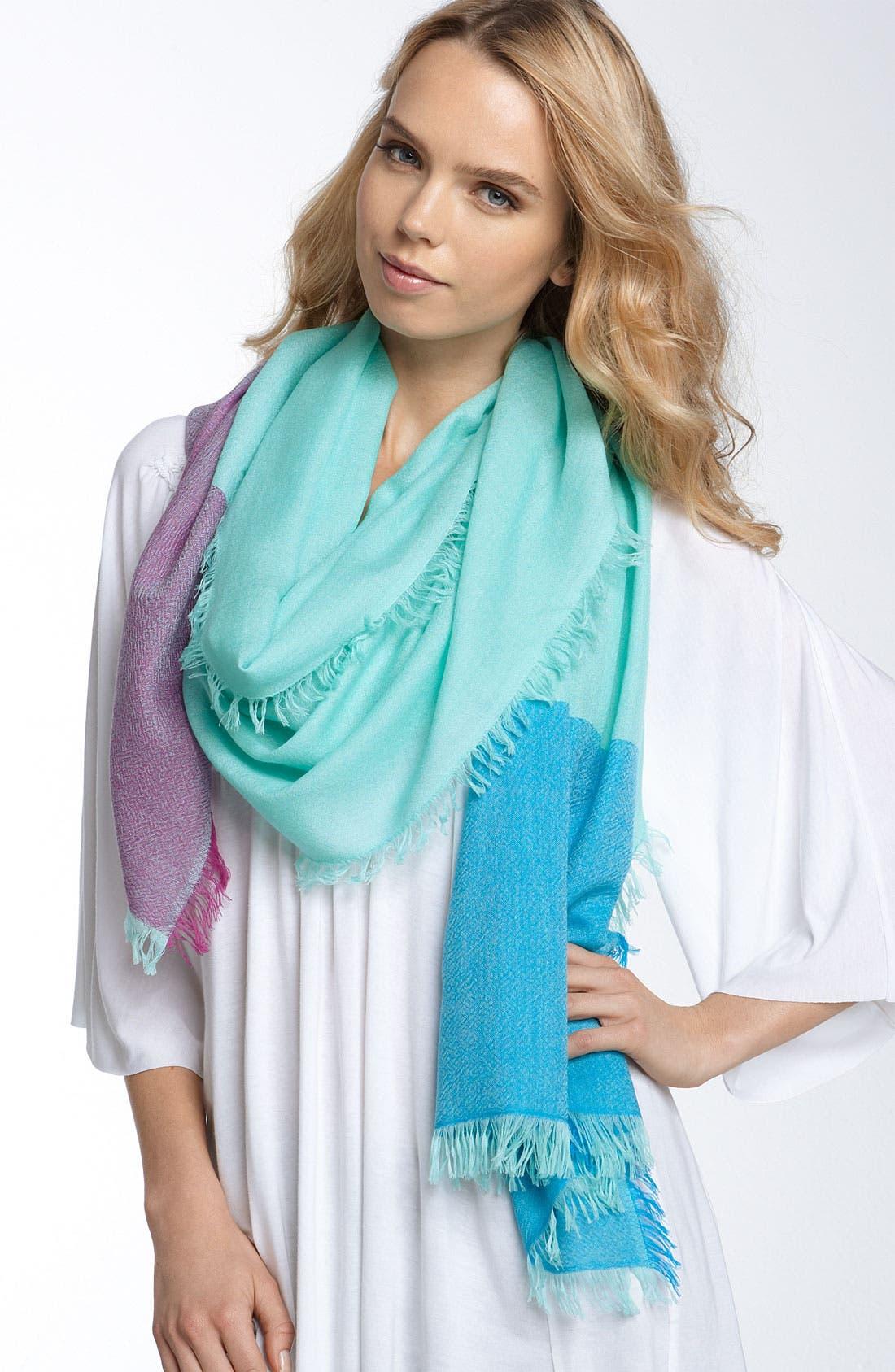 ,                             'Eyelash' Colorblock Cashmere Wrap,                             Main thumbnail 49, color,                             443