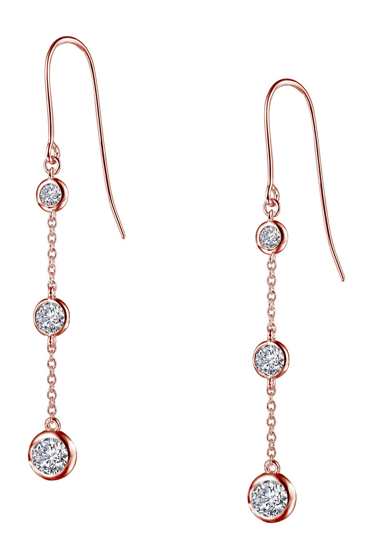 Image of LaFonn Rose Gold Over Sterling Silver Simulated Diamond Drop Earrings
