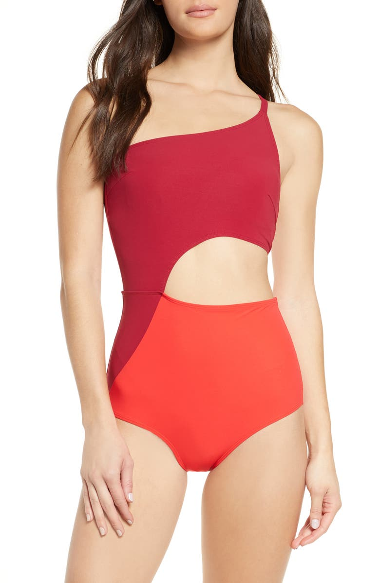 FLAGPOLE Ali One-Piece Swimsuit, Main, color, BEET/ CHERRY