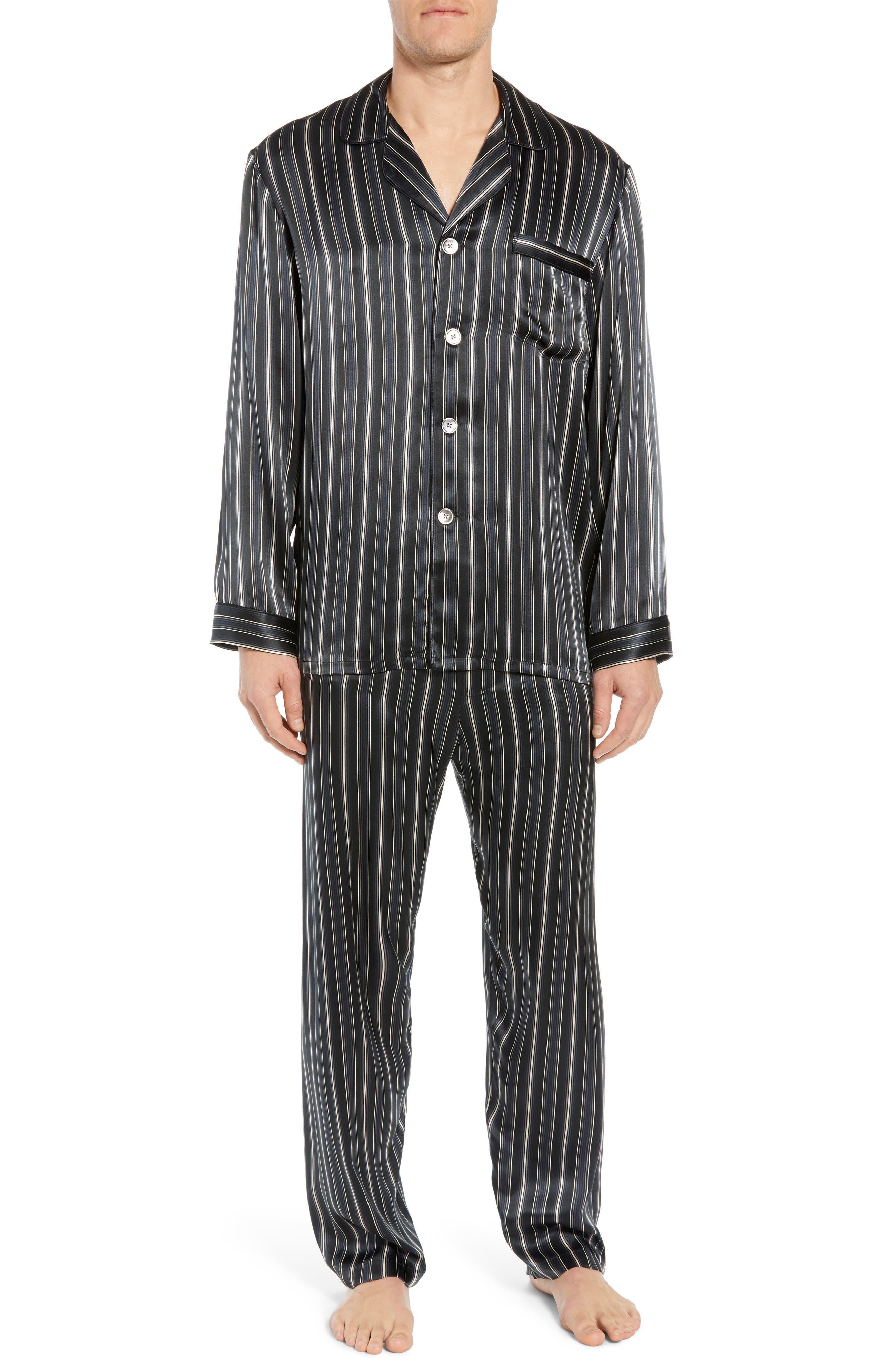 Majestic International Fresh Ink Stripe Silk Pajama Set, Black