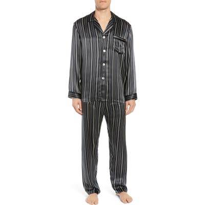 Majestic International Fresh Ink Stripe Silk Pajama Set, Black
