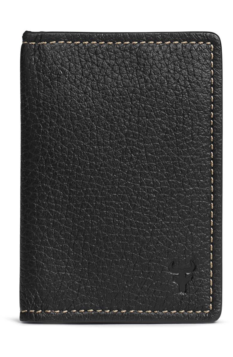 TRASK 'Jackson' Folding Card Case, Main, color, BLACK
