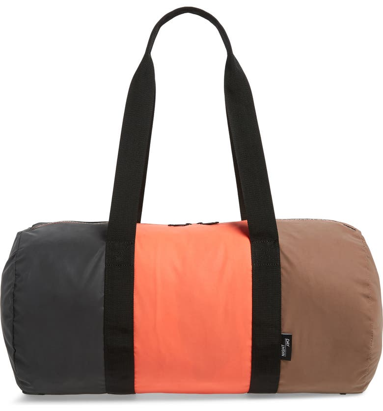 HERSCHEL SUPPLY CO. Day/Night Duffle Bag, Main, color, BLACK/ CORAL/ PINE BARK