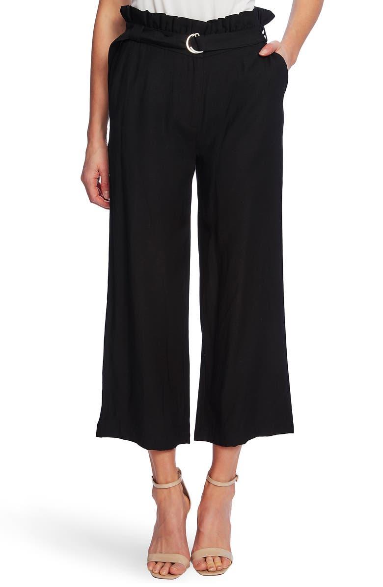 CECE Paperbag Waist Rumple Wide Leg Crop Pants, Main, color, RICH BLACK