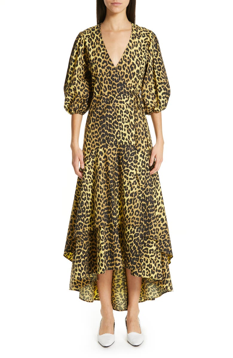 GANNI Leopard Print Cotton Wrap Dress, Main, color, 700