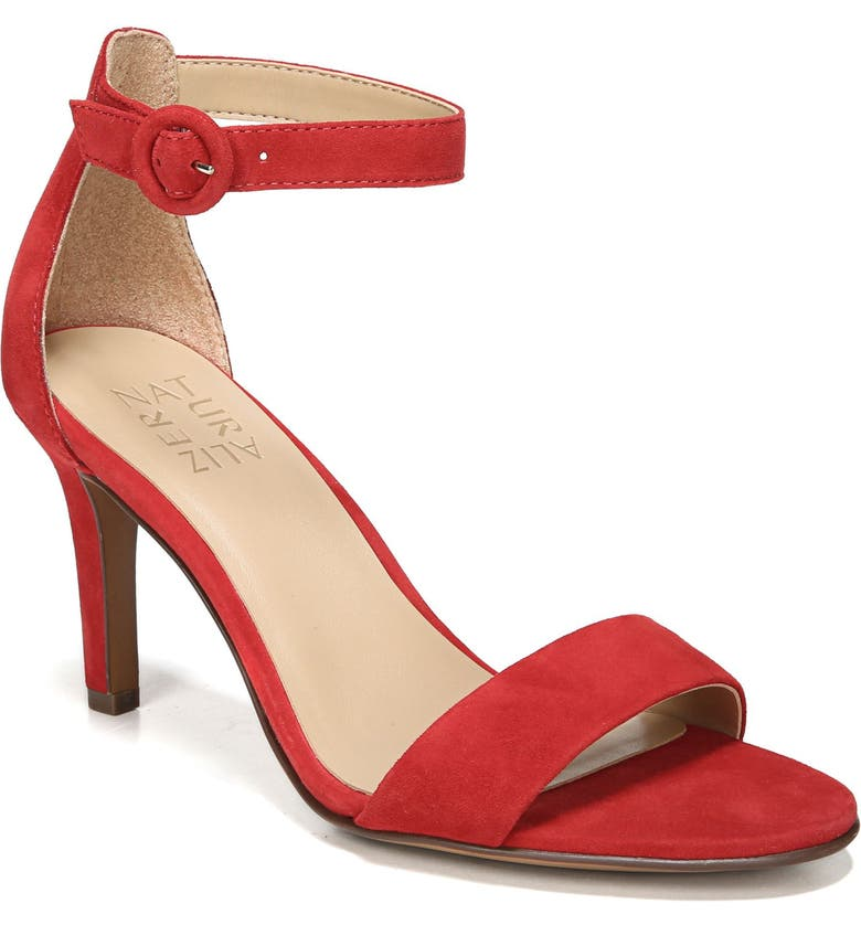 NATURALIZER Kinsley Ankle Strap Sandal, Main, color, RED SUEDE