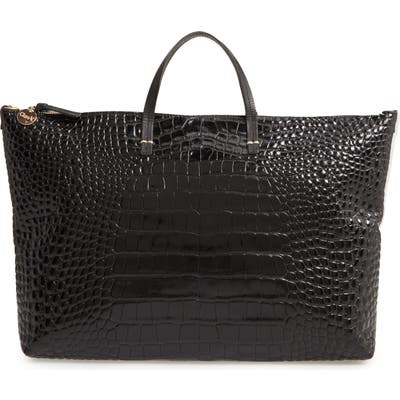 Clare V. Attache Croc Embossed Leather Tote - Black