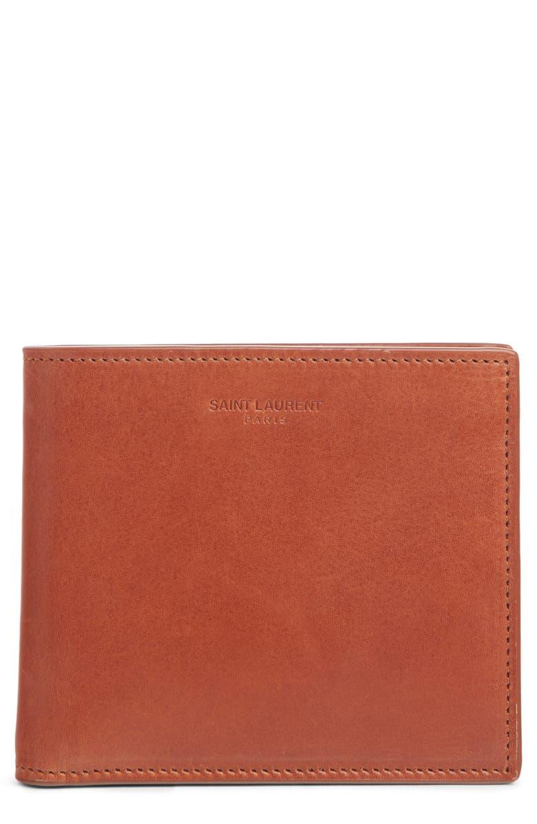 SAINT LAURENT Leather Bifold Wallet, Main, color, 200