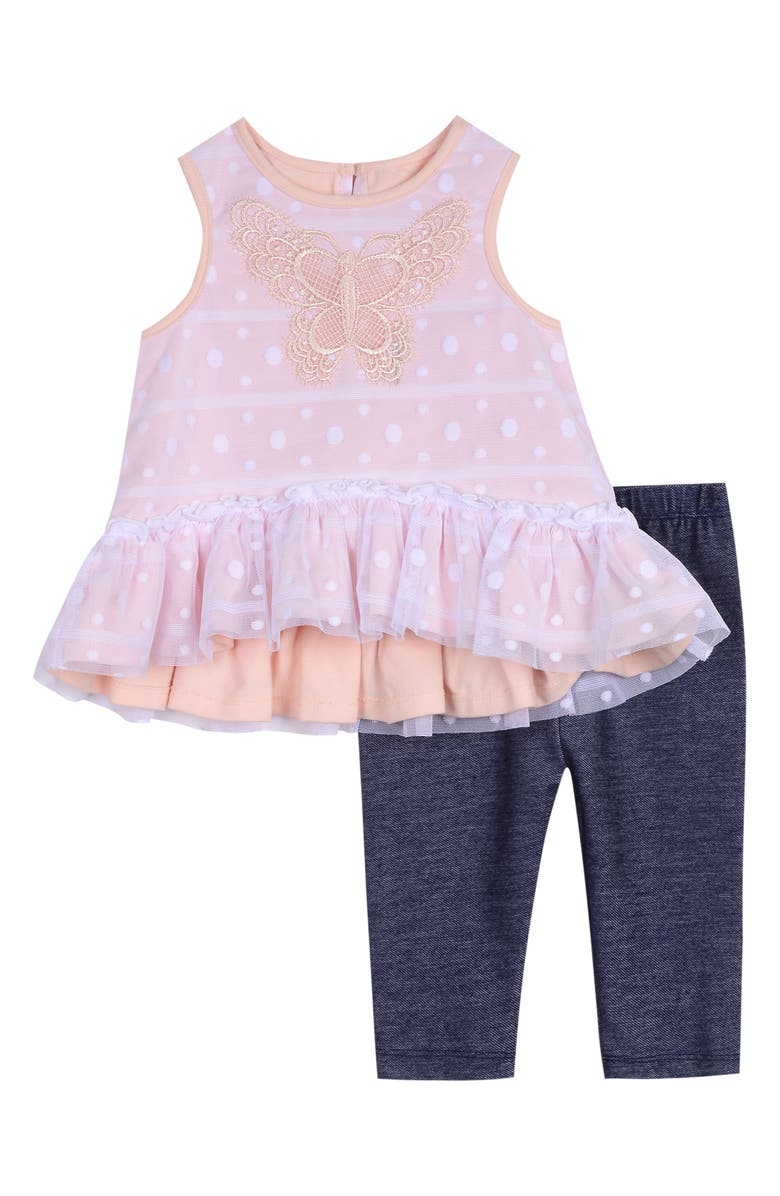 PIPPA & JULIE Butterfly High/Low Top & Leggings Set, Main, color, PINK