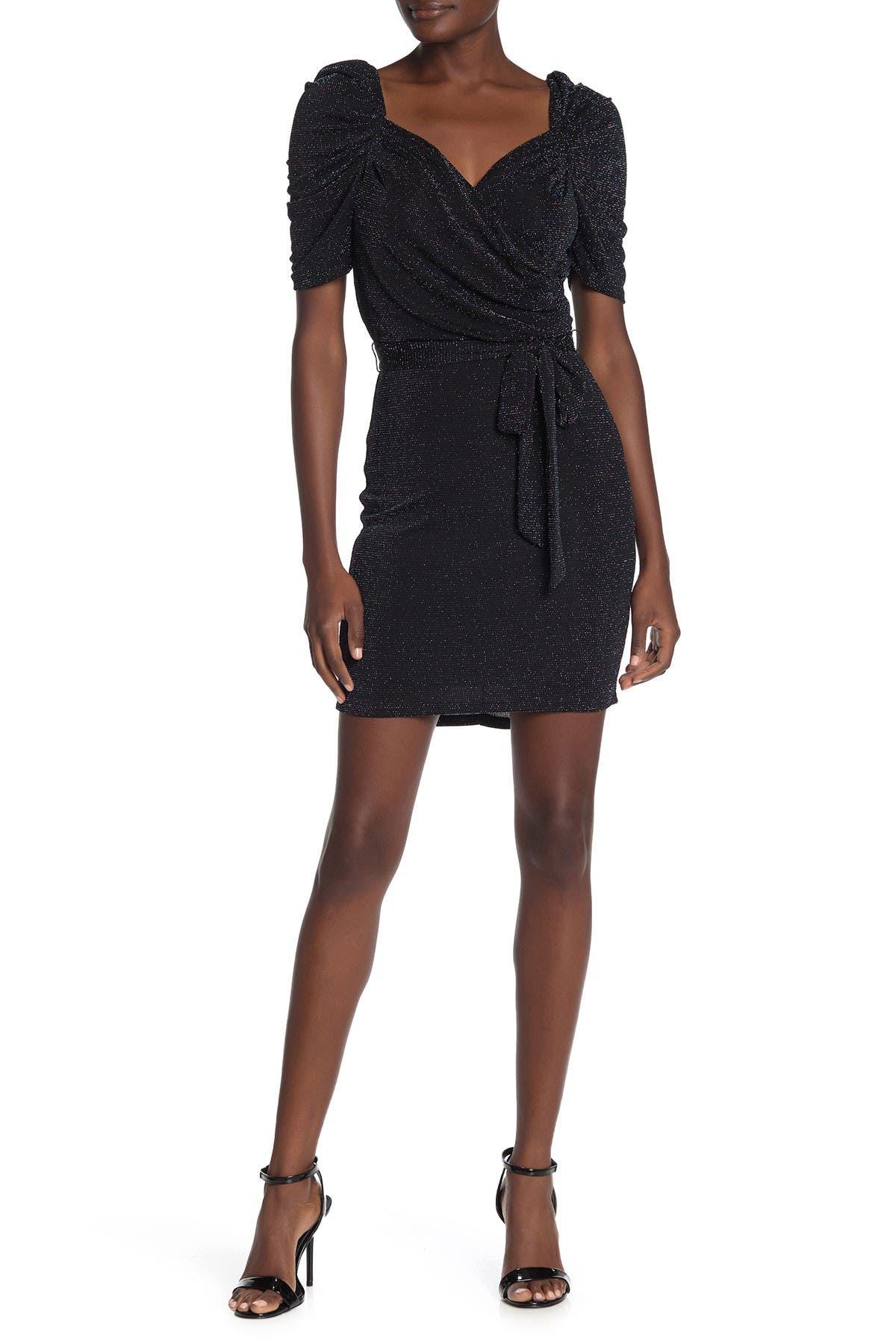 Image of MAX & ASH Puff Sleeve Metallic Knit Wrap Mini Dress
