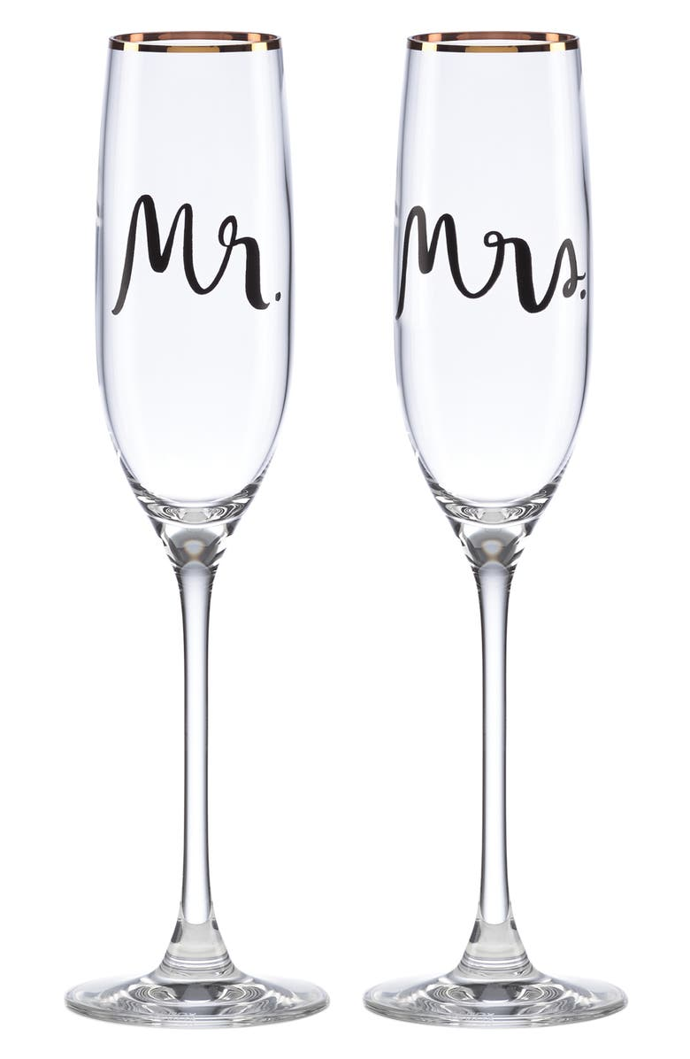 KATE SPADE NEW YORK set of 2 toasting flutes, Main, color, CLEAR