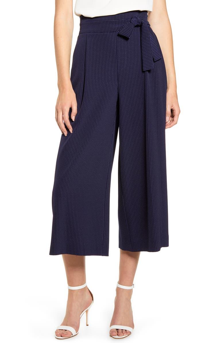 ANNE KLEIN Dot Pattern Tie Waist Wide Leg Crop Cotton Blend Trousers, Main, color, 410