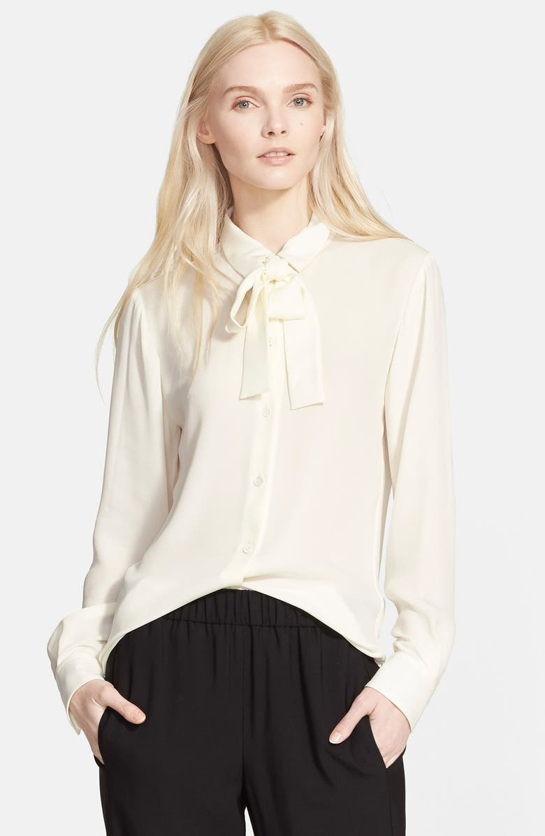 THEORY 'Emmanuelle' Tie Front Silk Blouse, Main, color, 907