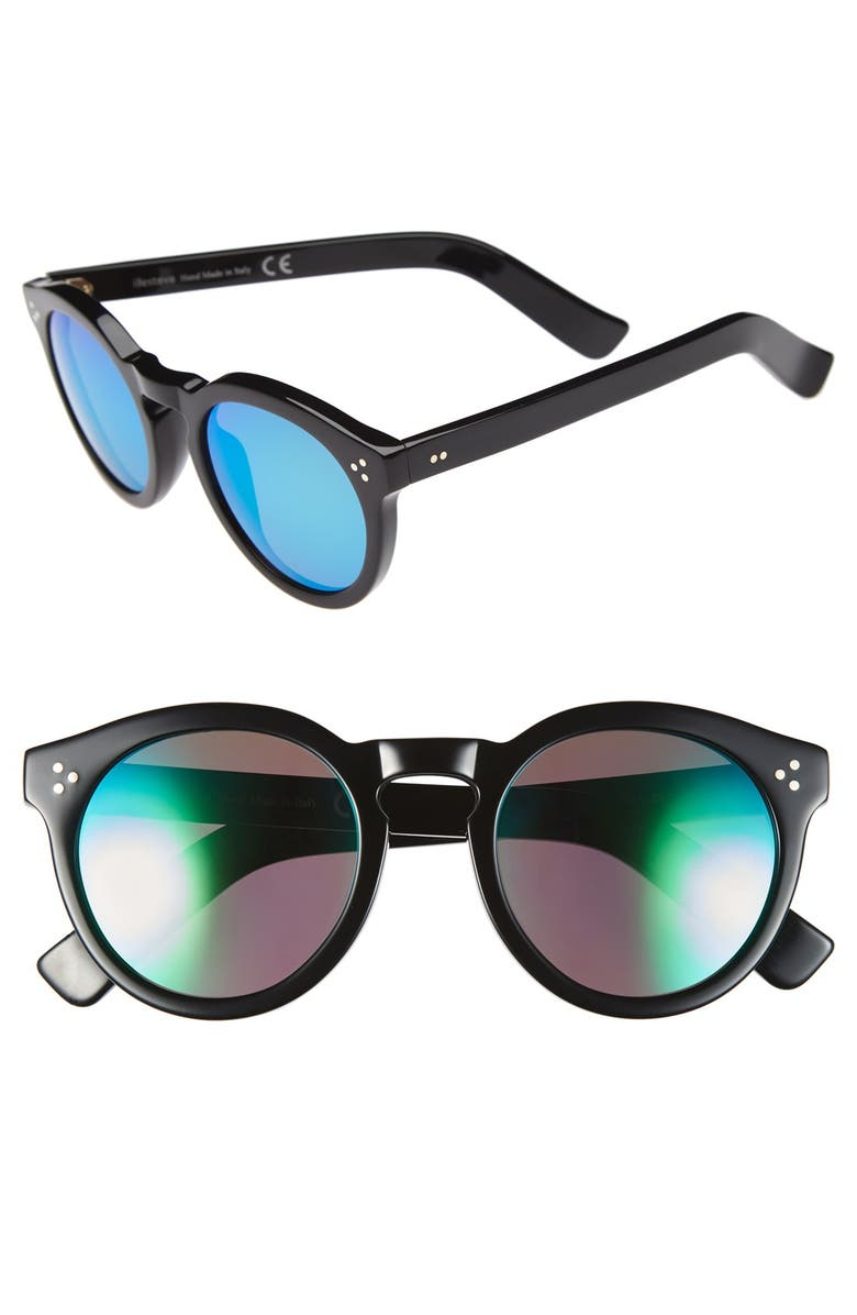 ILLESTEVA 'Leonard II' 50mm Round Mirrored Sunglasses, Main, color, 001