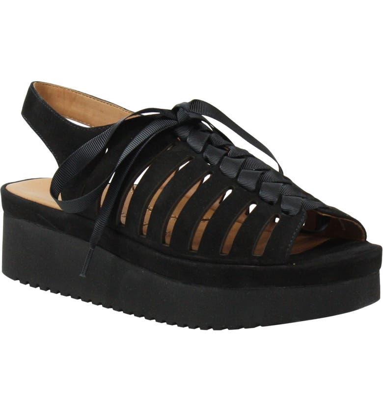 L'AMOUR DES PIEDS Amarli Sandal, Main, color, BLACK NUBUCK LEATHER