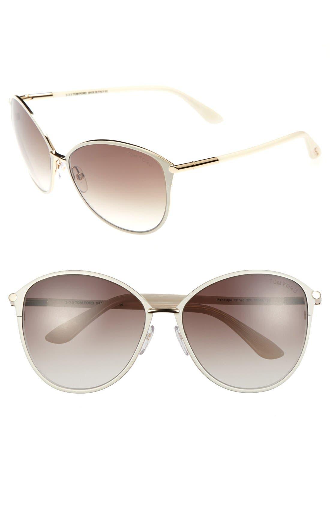 Tom Ford Penelope 5m Gradient Cat Eye Sunglasses - Shiny Rose Gold/ Ivory