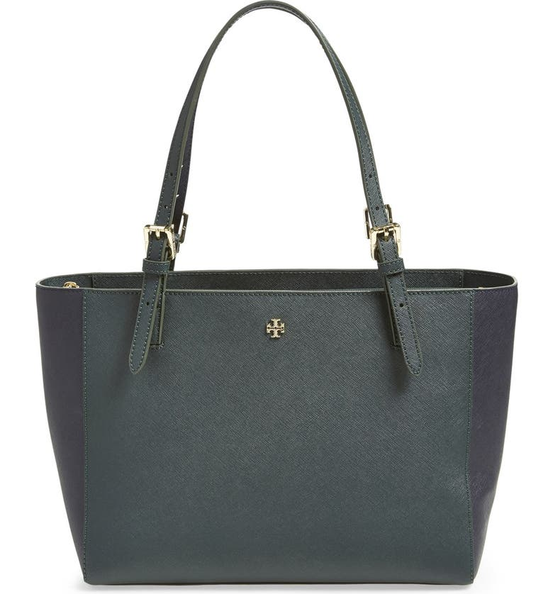 TORY BURCH 'Small York' Colorblock Buckle Tote, Main, color, 300