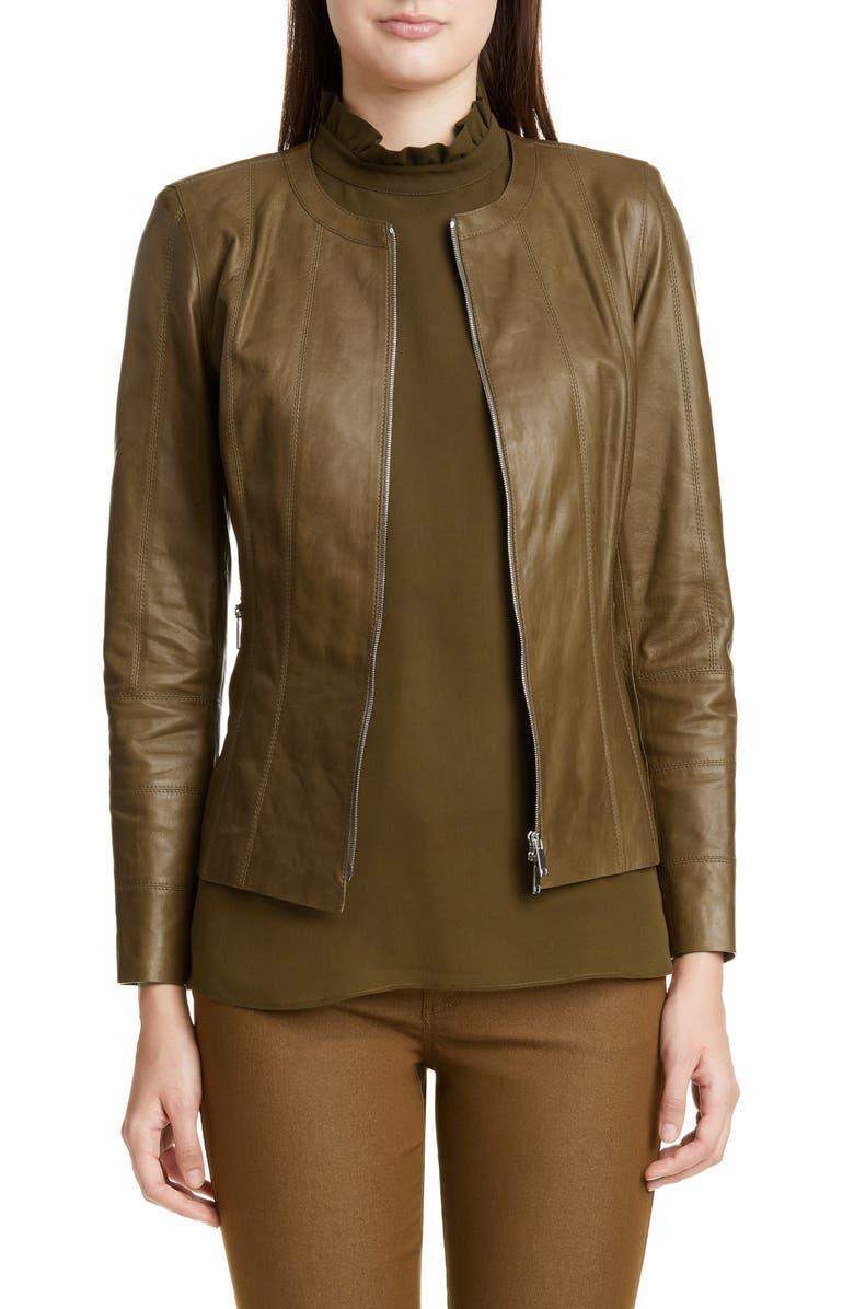 LAFAYETTE 148 NEW YORK Courtney Glazed Lambskin Leather Jacket, Main, color, SEQUOIA