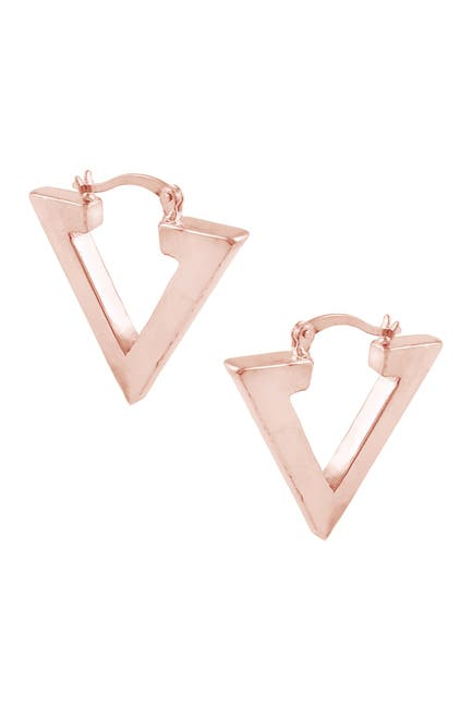 Image of Savvy Cie 18K Rose Gold Plated Sterling Silver Linear V Drop Earrings
