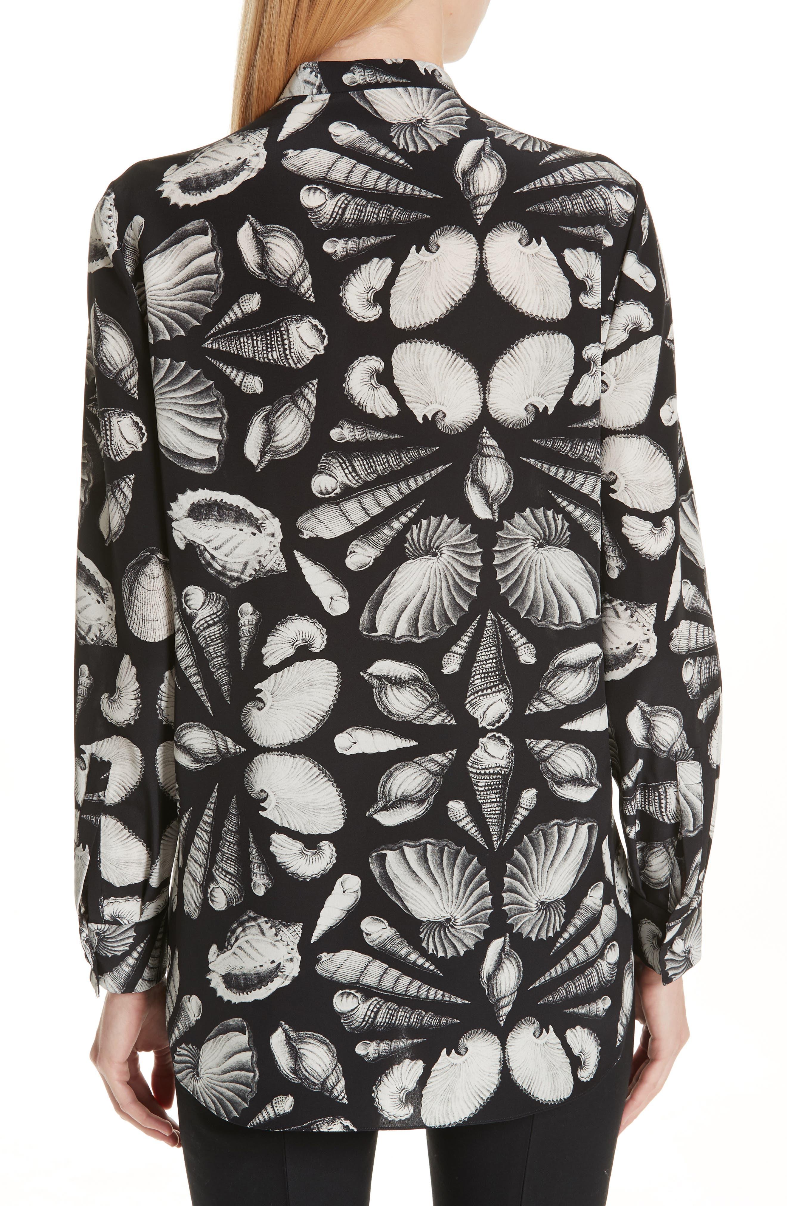,                             Cabinet of Shells Print Silk Blouse,                             Alternate thumbnail 2, color,                             1080 - BLACK IVORY
