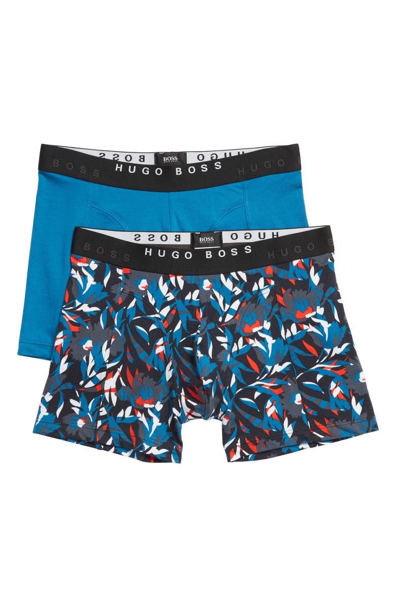 BOSS 2-Pack Cotton Boxer Briefs, Main, color, BLUE