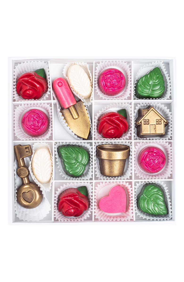 MAGGIE LOUISE CONFECTIONS Rose Garden 16-Piece Chocolates, Main, color, WHITE