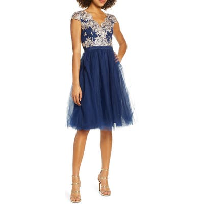 Chi Chi London Joan Embroidered Cocktail Dress, Blue