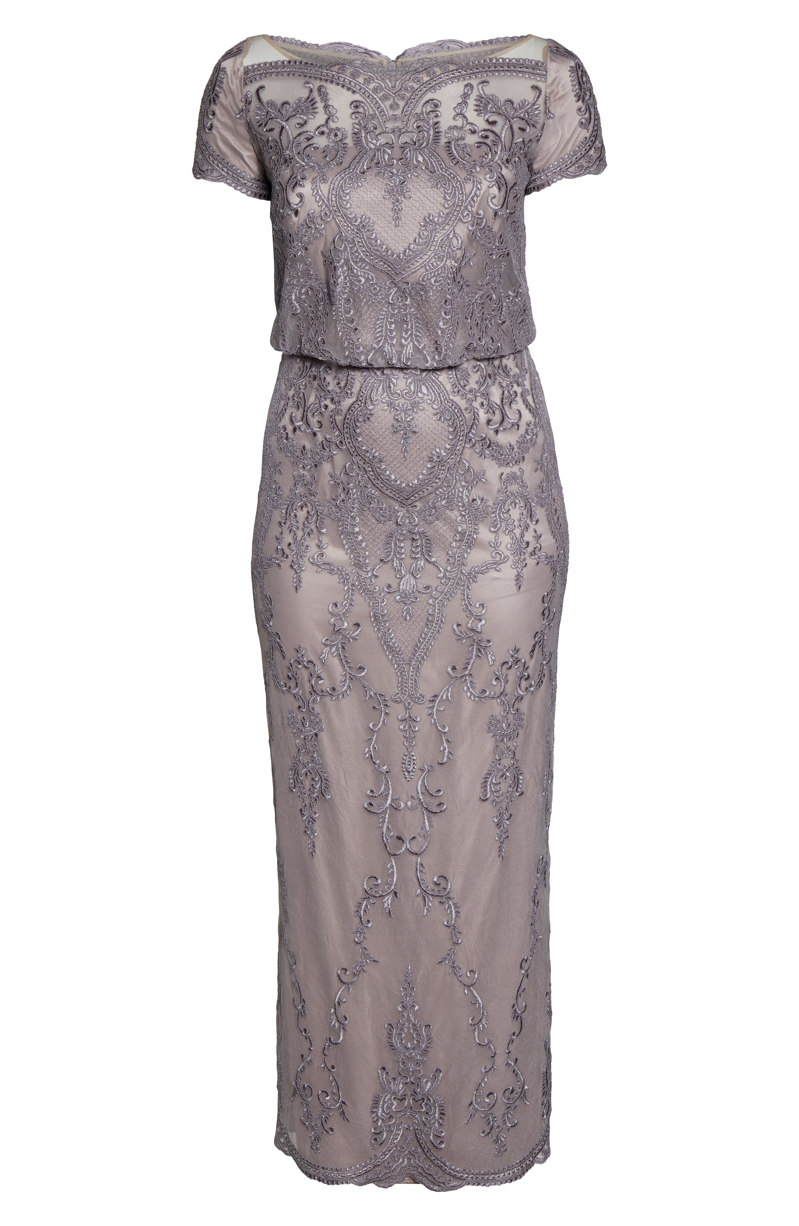 ,                             Scallop Embroidered Blouson Evening Dress,                             Alternate thumbnail 8, color,                             DUSTY LAVENDER