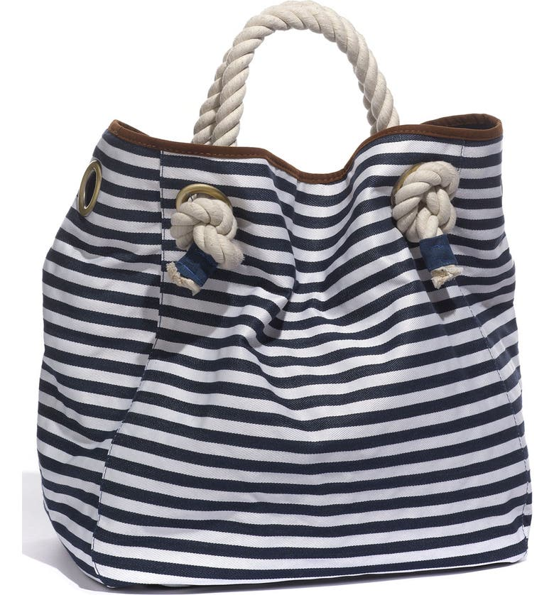 STREET LEVEL Nautical Stripe Canvas Tote, Main, color, 400