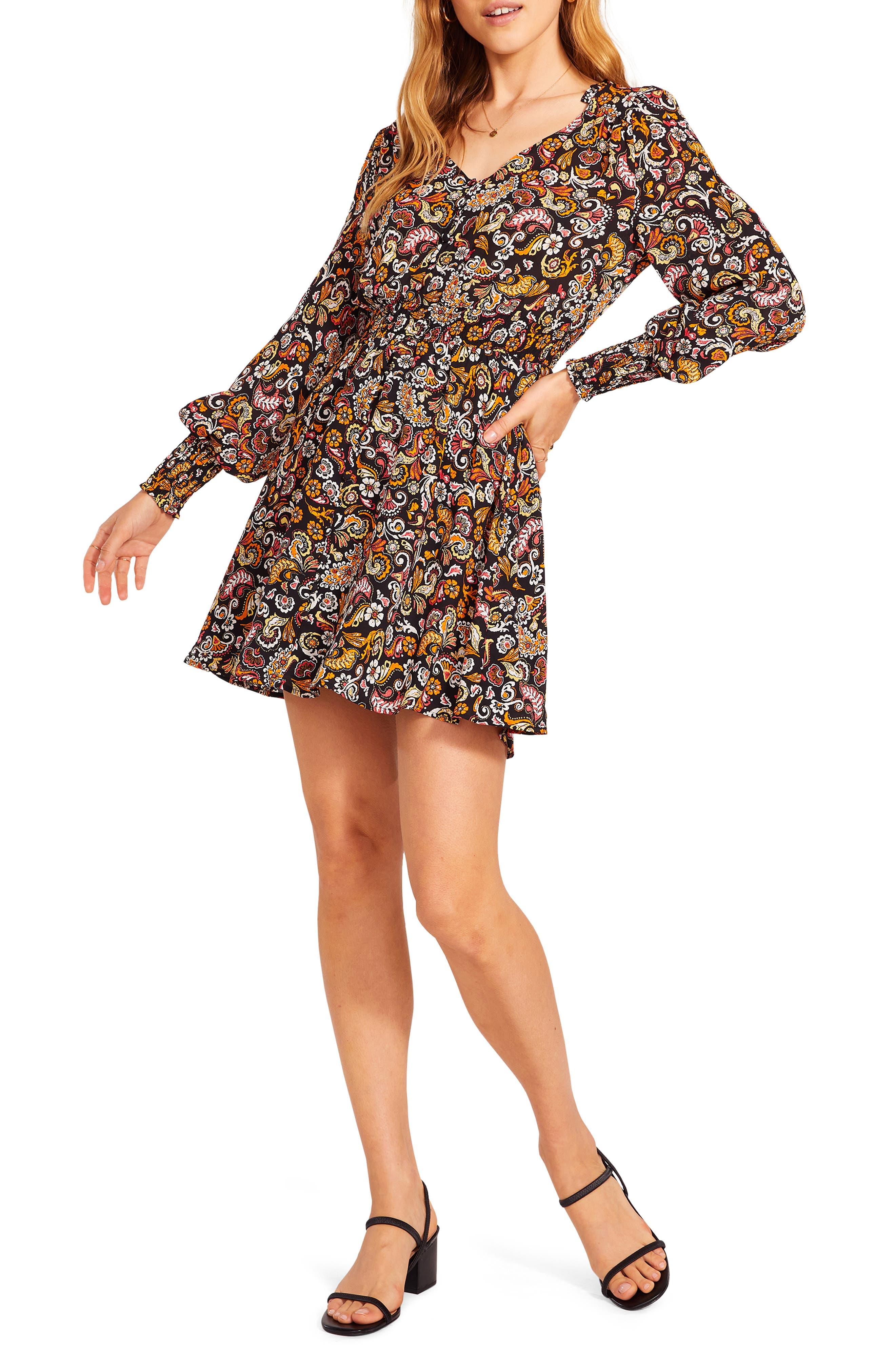 Women's Bb Dakota X Steve Madden Asheville Petal Paisley Long Sleeve Minidress