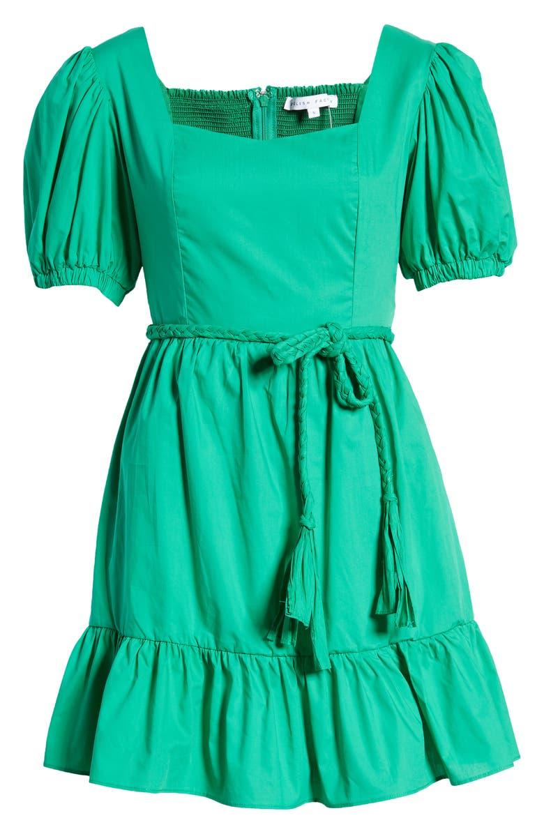 ENGLISH FACTORY Tie Waist Minidress, Main, color, GREEN