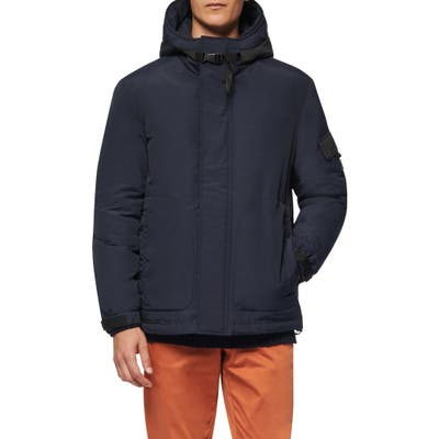 Andrew Marc Greiggs Utility Down Hooded Jacket, Blue