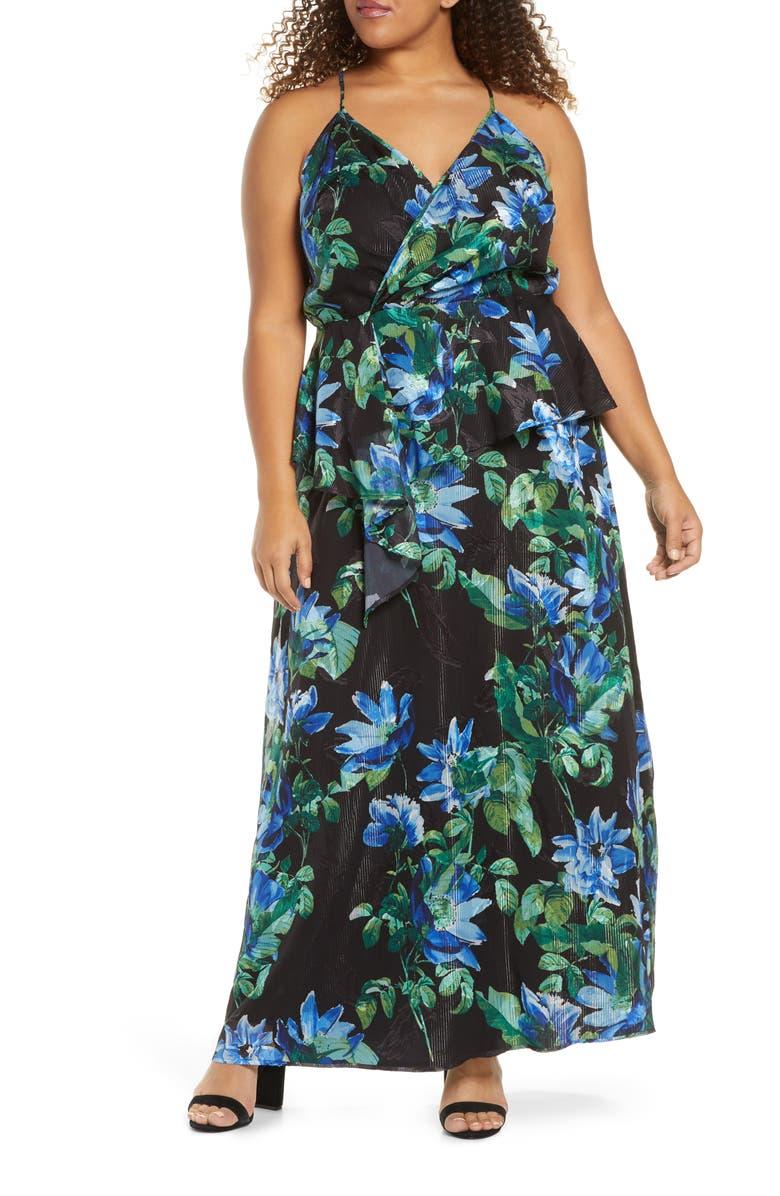 MARÉE POUR TOI Floral Print Two-Piece Maxi Dress, Main, color, 001
