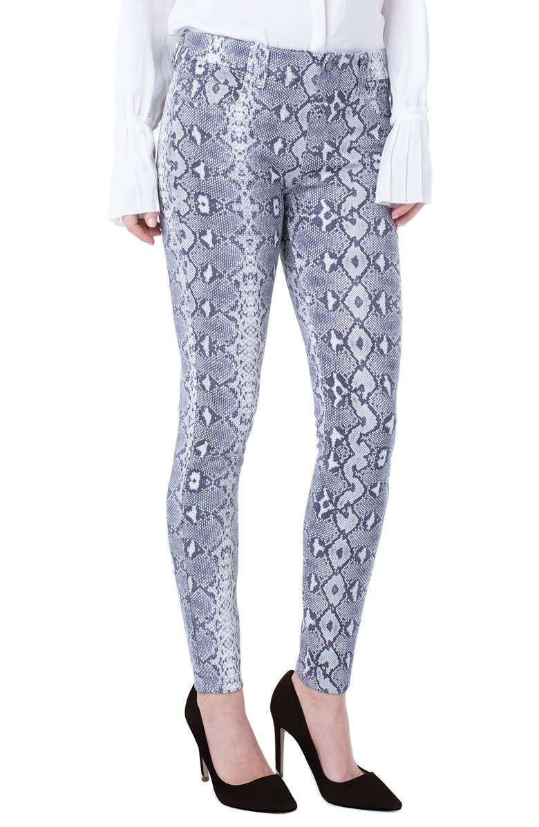 LIVERPOOL Gia Glider Snake Print Pull-On Knit Pants, Main, color, WHISPER WHITE/ VINTAGE