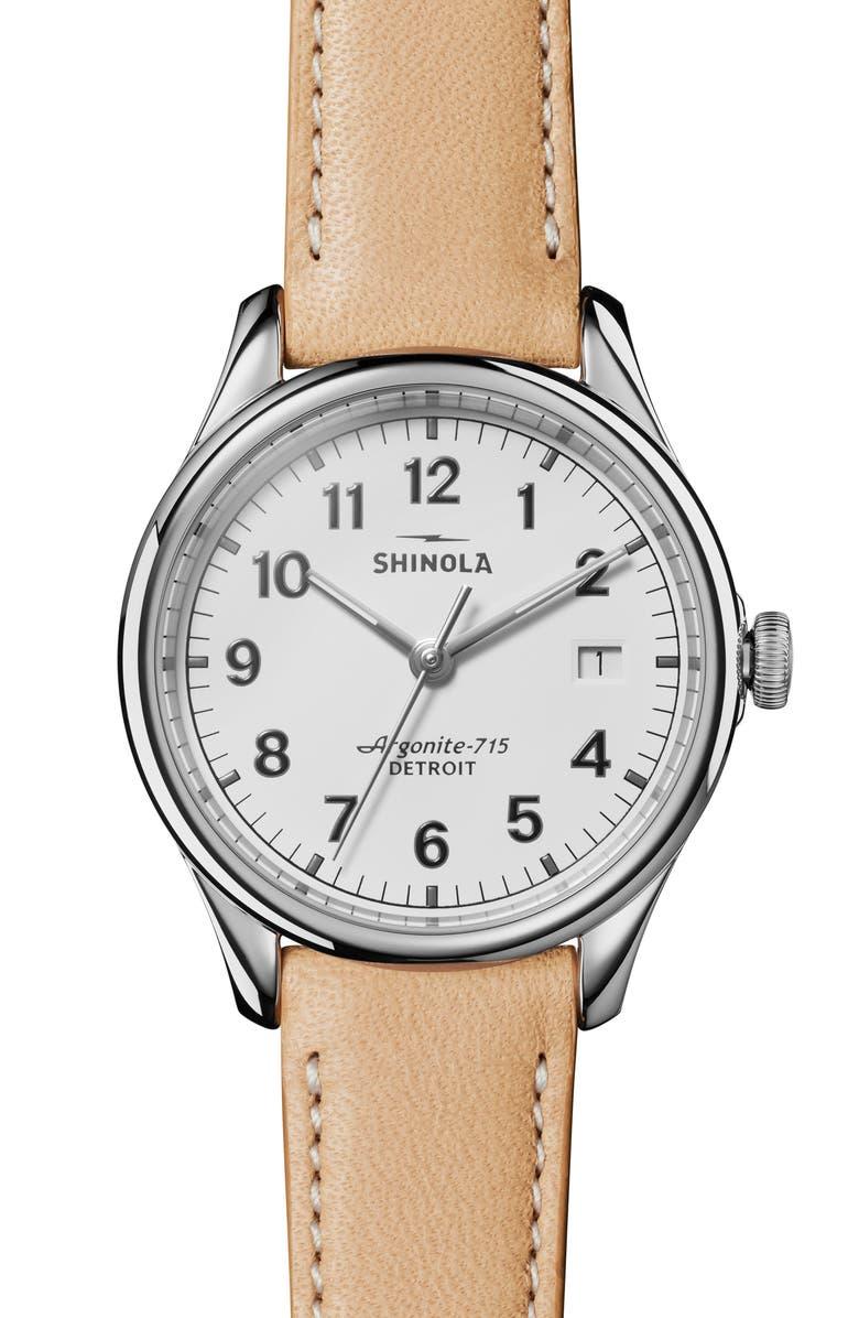 SHINOLA The Vinton Leather Strap Watch, 38mm, Main, color, TAN/ WHITE/ SILVER
