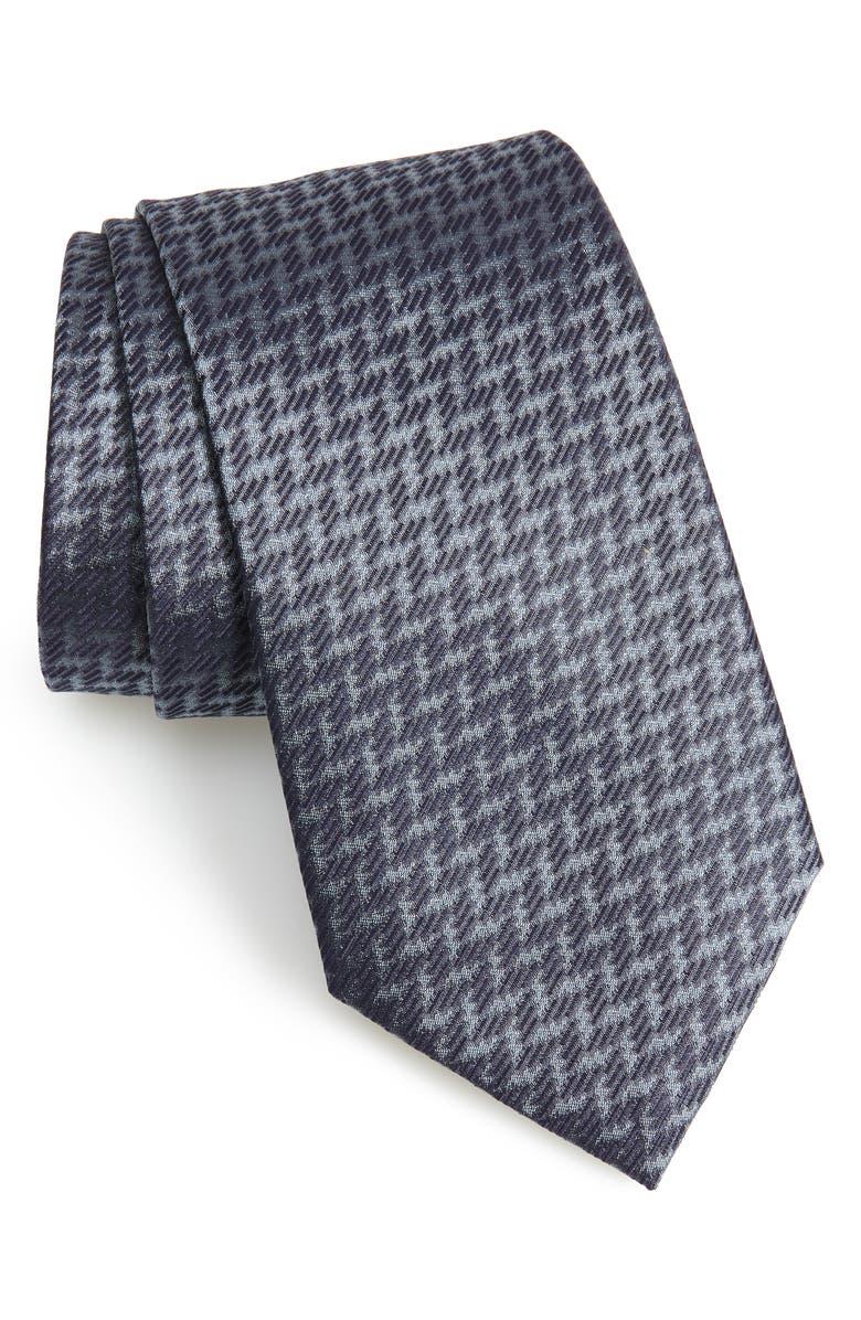 EMPORIO ARMANI Geometric Silk Tie, Main, color, BLUE/ LIGHT BLUE