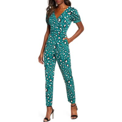 Adelyn Rae Lilith Animal Print Jumpsuit, Green