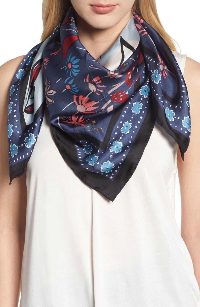 KATE SPADE NEW YORK fox scene square silk scarf, Main, color, 001