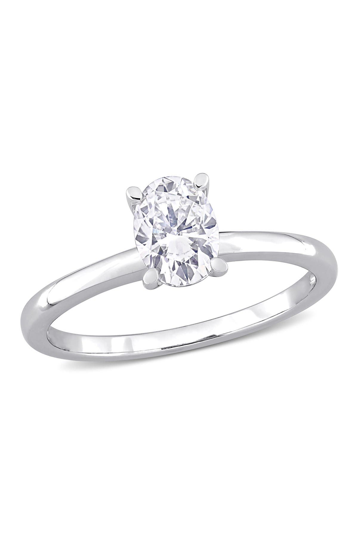 Image of Delmar Sterling Silver Created 1ctw Oval Moissanite Solitaire Engagement Ring
