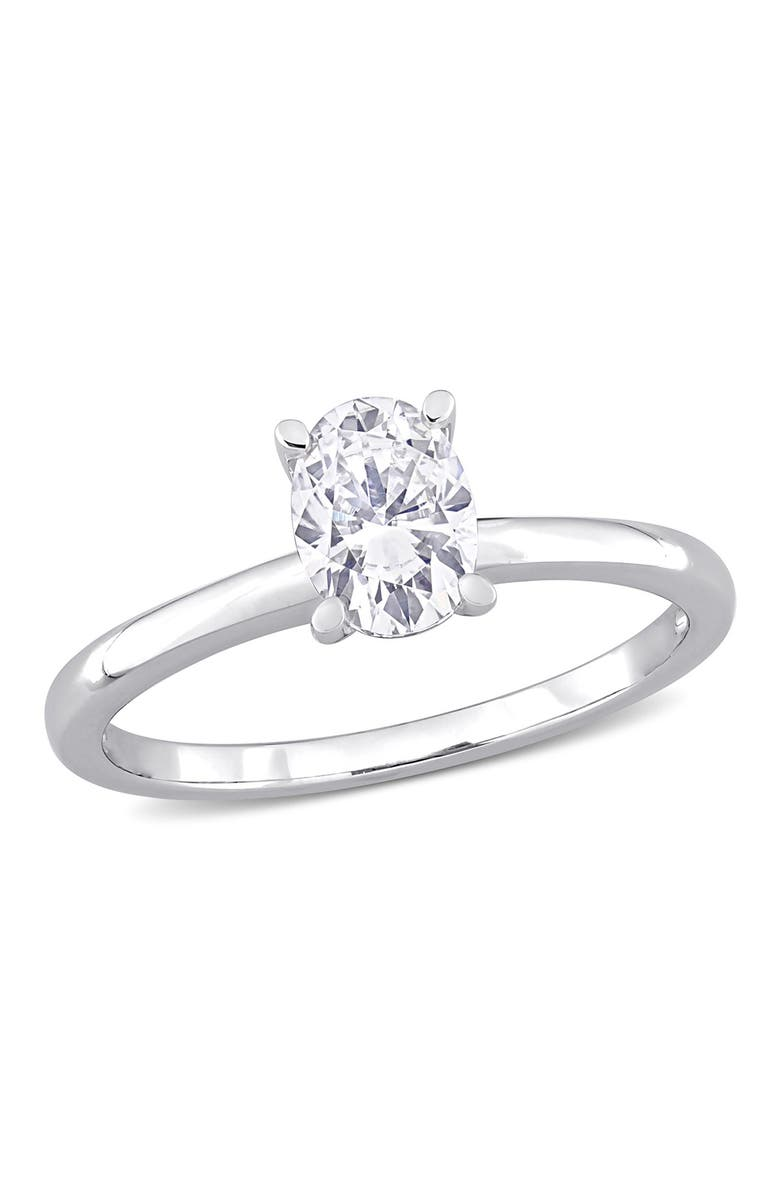 DELMAR Sterling Silver Created 1ctw Oval Moissanite Solitaire Engagement Ring, Main, color, WHITE