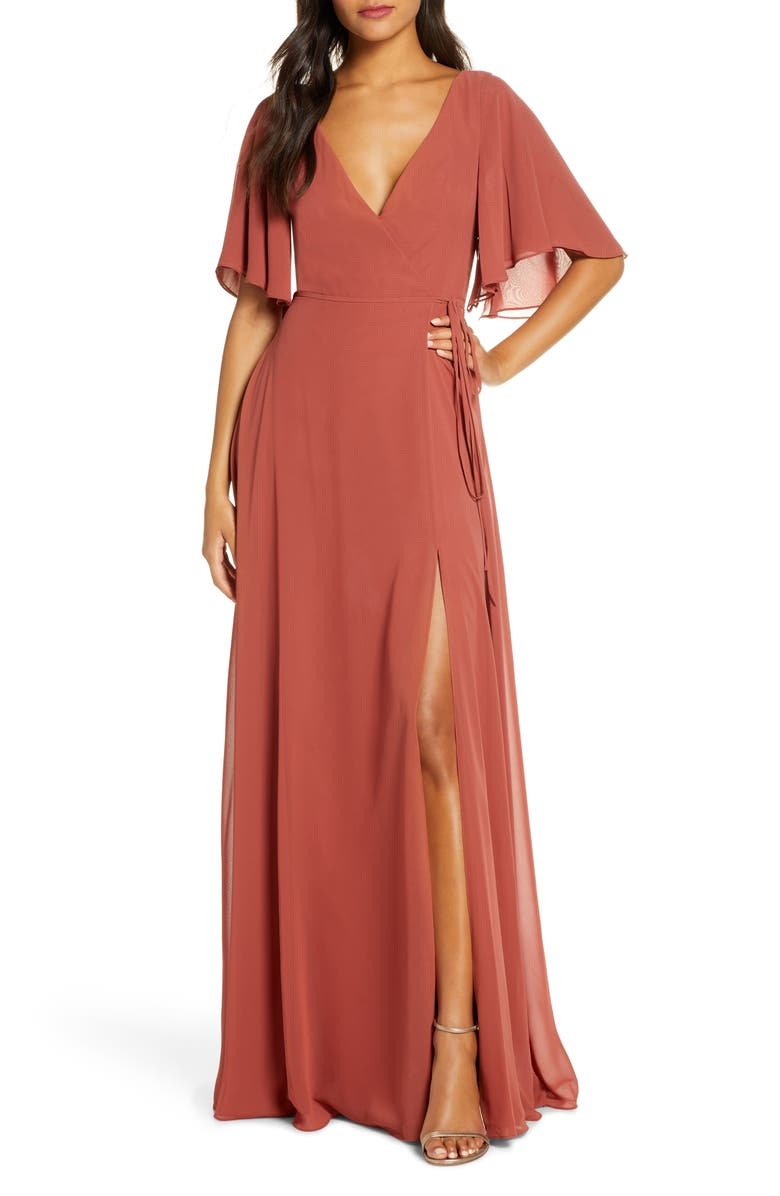 JENNY YOO Ari Flutter Sleeve Faux Wrap Evening Gown, Main, color, ENGLISH ROSE