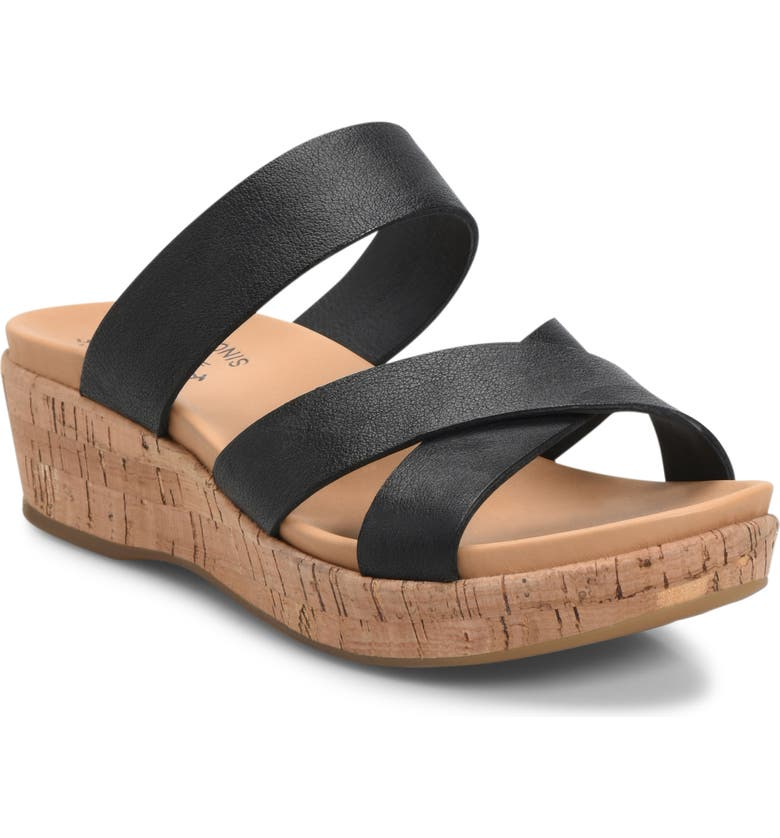 KORK-EASE<SUP>®</SUP> Camellia Slide Sandal, Main, color, BLACK LEATHER